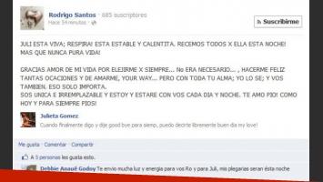 El mensaje que escribió Rodrigo Santos a las 3.47am del sábado, desmintiendo la muerte de su novia.
