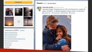 El romántico anuncio de Facundo Arana en Twitter.