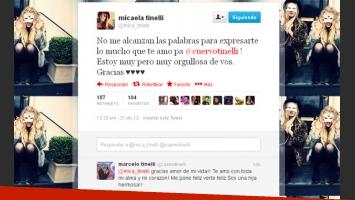 El tweet de Micaela Tinelli para su papá, y la respuesta de Marcelo. (Captura: @mica_tinelli)