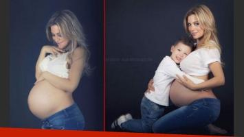 Evangelina Anderson junto a su hijo Bastian, en una sesión de fotos antes de dar a luz a Lola. (Fotos: @evange_anderson)
