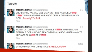 Los bochornosos tweets de Mariana Nannis contra Yanina Latorre. (Captura: @marianannis)