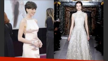 El vestido que usó y el que iba a usar Anne Hathaway. (Fotos: Web)