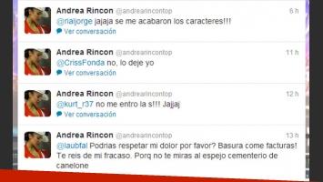 Andrea Rincón, sin filtro contra Laura Ubfal en Twitter (Foto: Captura).