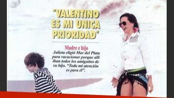 Julieta Camaño y su hijo Valentino. (Foto: revista Pronto).