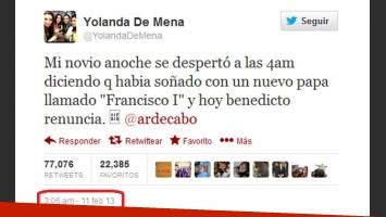 El tweet de @YolandaDeMena, escrito el 11 de febrero, sobre el sueño de su novio.