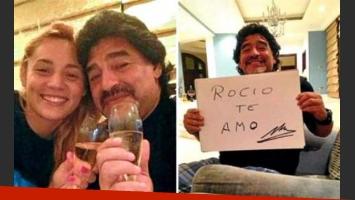 Diego Maradona y Rocío Oliva. (Fotos: Perfil)