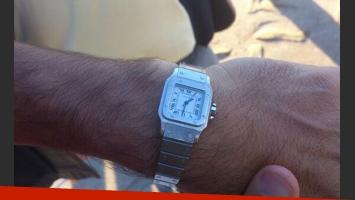 El reloj que le regaló a Bossi el hijo de Alberto Olmedo (Foto: Twitter).