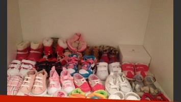 La increíble cantidad de zapatitos de Lupe, la hija de Chechu (Foto: Twitter).