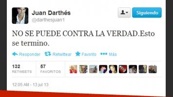 El tweet de Juan Darthés sobre el escándalo con Calu Rivero (Foto: captura de Twitter).