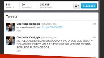 El enojo de Charlotte con sus detractores en Twitter (Foto: Captura).