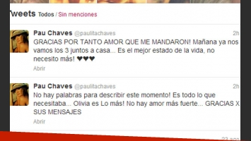 Los tiernos mensajes de Paula Chaves en Twitter (Foto: Captura de pantalla).
