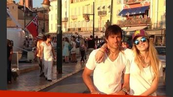 Chechu Bonelli, Darío Cvitanich y Lupe, en Saint Tropez (Foto: Twitter).