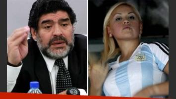 Diego Armando Maradona y Verónica Ojeda, lejos de firmar el acuerdo por su bebé. (Fotos: Web)