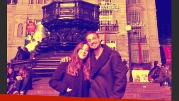 Jimena Barón en Londres con Daniel Osvaldo. (Foto: Twitter @baronjimena)