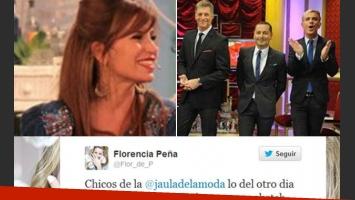 Florencia Peña, picante con La Jaula de la moda. (Fotos: captura TV, Twitter y Magazine)