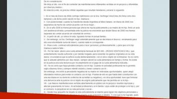 La carta de Daniel Osvaldo en respuesta a su ex (Fotos: Captura).