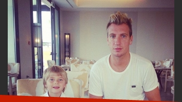 Maxi y Valentino Lopez, en el spa (Foto: Instagram).