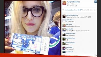 Lopilato disfrutó de un partido de hockey en Canadá (Foto: Instagram).