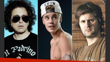 Andrés Calamaro, Ciro Martínez y una crítica mordaz a Justin Bieber. (Fotos: Web)