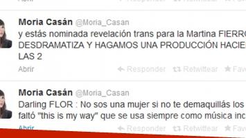 Los tweets de Moria Casán para Flor de la V. (Fotos: Twitter @Moria_Casan)