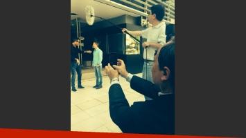 Marcelo Tinelli y Adrián Suar grabaron juntos (Foto: Twitter).