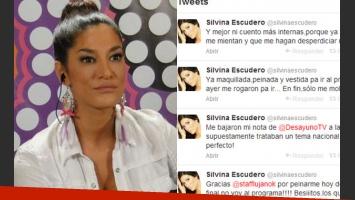 Silvina Escudero, enojadísima con Desayuno Americano. (Fotos: Web y Twitter)