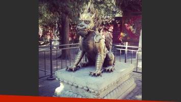 Brenda Asnicar disfruta de su viaje a China (Fotos: Twitter e Instagram).