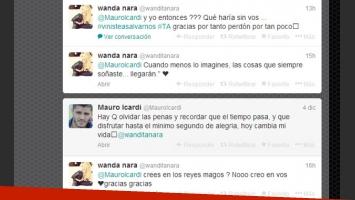 El picante ida y vuelta de Mauro con Wanda (Foto: Captura de Twitter).