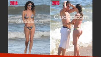 Izq: Vitto Saravia, hoy, sola en las playas de Punta. Der: el año pasado compartió sus vacaciones con Pablo Mouche. (Fotos: TMPress y archivo Ciudad.com)