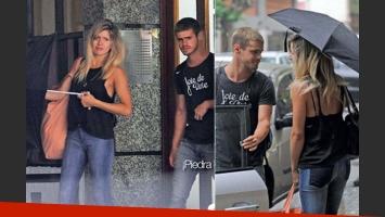 Gastón Soffritti y Laurita Fernández saliendo juntos del departamento de ella (Fotos: Gente).
