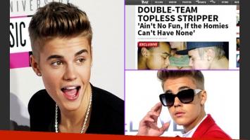 Justin Bieber y una polémica foto besando el pecho de una stripper. (Fotos: Web y captura TMZ)