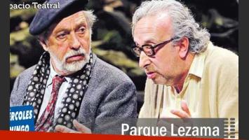 Luis Brandoni da una clase de actuación en Parque Lezama, junto a Eduardo Blanco. (Foto: Web)