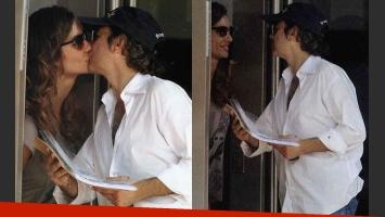 Fabián Vena y Paula Morales: el primer beso de la pareja (Fotos: Revista Pronto).