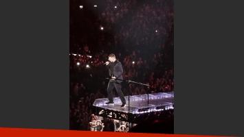 Evangelina Anderson y Martín Demichelis fueron a ver a Justin Timberlake. (Foto: Twitter)
