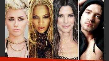 ¿Querés saber cuánto ganaron Miley Cyrus, Beyoncé, Sandra Bullock y Justin Timberlake en 2013? (Foto: Web)