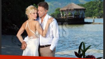 Alejandro Fantino y Miriam Lanzoni, en la isla de Caras. (Fotos: revista Caras)