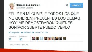Carmen descargó su bronca en Twitter por las ausencias que hubo en el festejo (Foto: Captura).