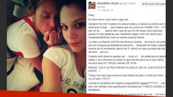 Nazarena Vélez junto a su hija y una estremecedora carta a Rodríguez (Fotos: Twitter y Facebook).