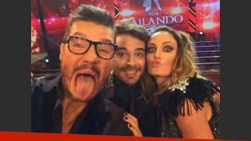 La selfie de Marcelo Tinelli, Paula Chaves y Pedro Alfonso (Foto: Twitter).