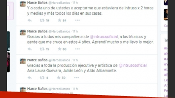 Marcela Baños se despidió de Intrusos en Twitter (Foto: Captura).