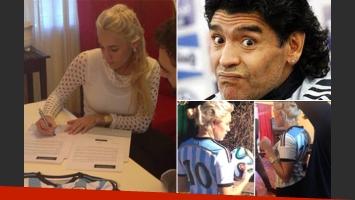 Rocío Oliva firmó con El diario de Mariana. (Fotos: Twitter @angeldebritook y Web)