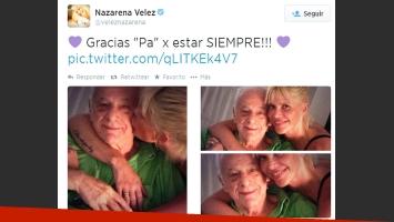 Nazarena Vélez se reencontró con Gerardo Sofovich. (Foto: Twitter @veleznazarena)