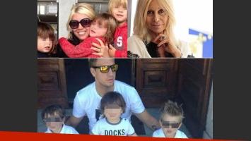 Maxi López y Wanda Nara con sus hijos. (Fotos: Web)