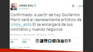 Jorge Rial confirma al nuevo representante de Loly (Foto: Twitter)