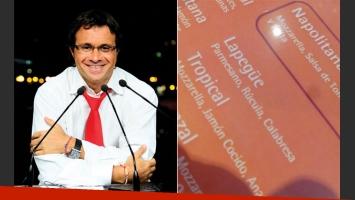 Sergio Lapegüe con pizza propia (Foto: web y twitter)