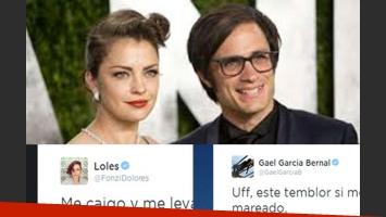 Los sugestivos tweets de Dolores Fonzi y Gael García Bernal. (Fotos: Web y Twitter)