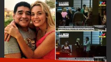 Diego Maradona junto a Rocío Oliva. (Foto: Web y captura de TV)