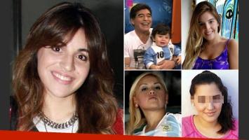 Gianinna, Diego, Dieguito, Dalma, Verónica Ojeda y Jana Maradona. (Fotos: archivo Web)