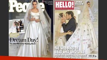 Las primeras fotos de la boda de Brad Pitt y Angelina Jolie: ¡mirá el particular vestido de la novia! (Foto: Revista People/ Revista Hello!)