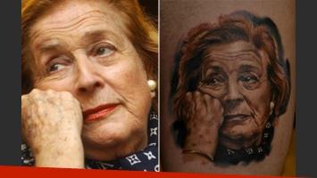 El tatuaje con la cara de China Zorrilla. (Fotos: Web y Twitter)